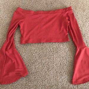 Bell bottom sleeve crop top